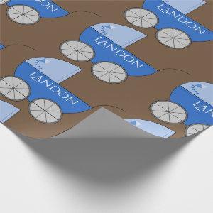 Personalized Baby Blue Carriages Wrapping Paper