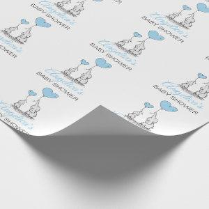 Personalized BABY SHOWER Blue Elephant BOY Wrapping Paper