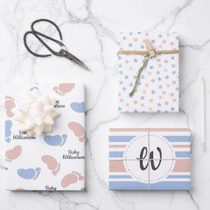 Personalized Baby Shower Gender Reveal Monogram Wrapping Paper Sheets