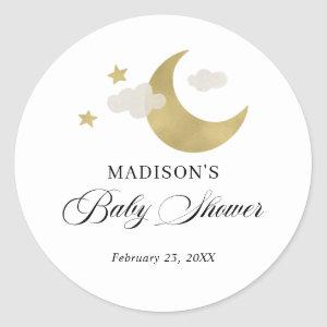 Personalized | Baby Shower Moon Stars Clouds Classic Round Sticker