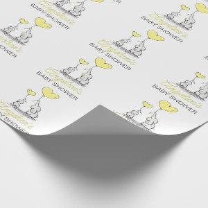 Personalized BABY SHOWER Yellow Elephant Neutral Wrapping Paper