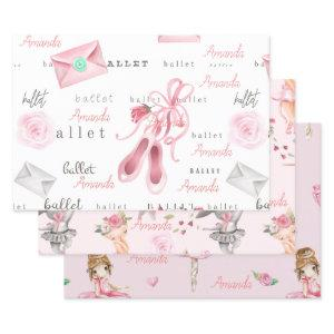 Personalized Ballerina Ballet Name Pretty Wrapping Paper Sheets