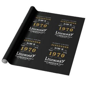 Personalized Birthday 1970 Add Your Name Legendary Wrapping Paper