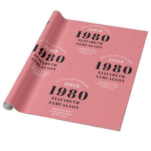Personalized Birthday 1980 Pink Setting Standards Wrapping Paper