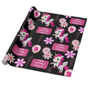 Personalized Birthday Unicorns Wrapping Paper