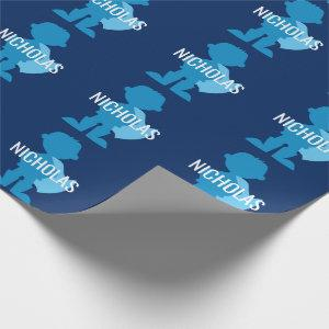 Personalized Blue Superhero Boy Silhouette Kids Wrapping Paper