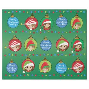 Personalized Brunette Girl Elf Wrapping Paper