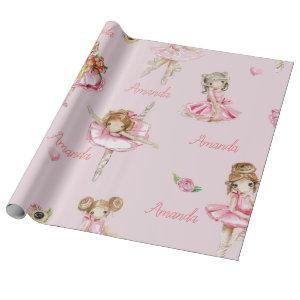 Personalized Child Ballet Ballerina Pink Pretty Wrapping Paper