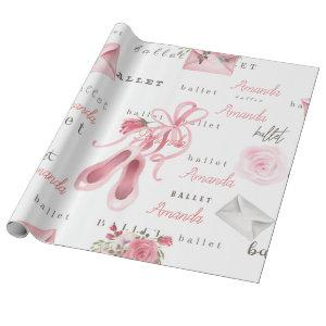 Personalized Child Ballet Ballerina Pink Wrapping Paper