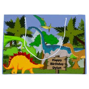 Personalized Child Dinosaur Birthday Large Gift Bag
