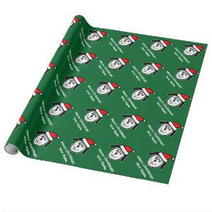Personalized Christmas Santa dog wrapping paper