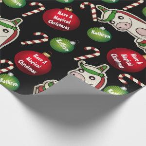 Personalized Christmas Unicorns Wrapping Paper