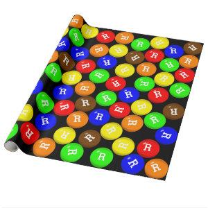 Personalized Colorful Candy Coated Chocolates Wrapping Paper