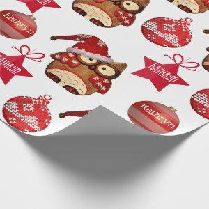 Personalized Country Owls Holiday Wrapping Paper