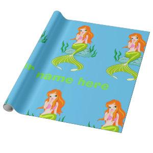 Personalized Cute and Charming Mermaid Girl Wrapping Paper