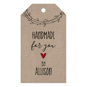 """Personalized Cute """"Handmade For You"""" Kraft Gift Tags"""