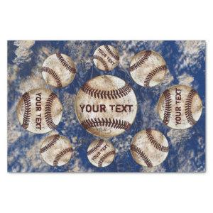 Personalized Dirty Vintage Baseball Tissue Paper