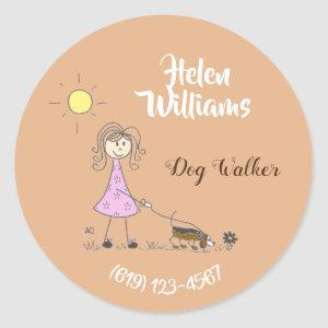 Personalized dog walker business stickers