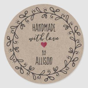 Personalized Faux Kraft Craft Handmade With Love Classic Round Sticker