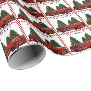 personalized firefighter Christmas Wrapping Paper