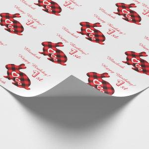 Personalized First Birthday lumberjack boy/girl Wrapping Paper