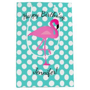 Personalized Flamingo and Polka Dot Gift Bag