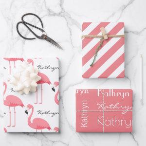Personalized Flamingos Wrapping Paper Sheets