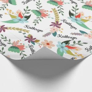 Personalized Floral Wrapping Paper