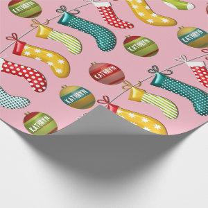 Personalized Fun & Festive Christmas Pink Wrapping Paper