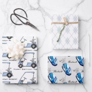 Personalized Golf Wrapping Paper Sheets