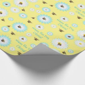 Personalized Happy Bee Day Wrapping Paper