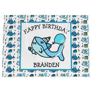 Personalized Happy Birthday Blue Baby Shark Large Gift Bag