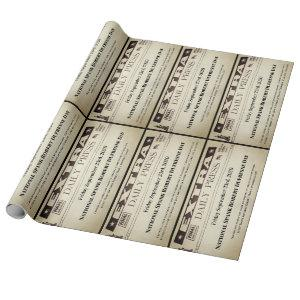 Personalized Headlines Two Stories Wrapping Paper