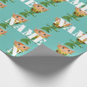 Personalized Kids Christmas Elf Wrapping Paper