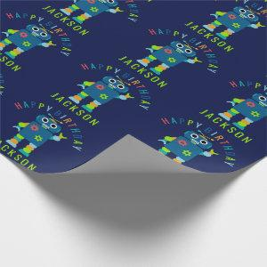 Personalized Kids Colorful Robot Birthday Party Wrapping Paper