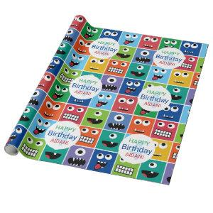 Personalized Kids Monster Birthday Party Add Age Wrapping Paper