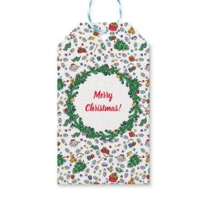 Personalized Merry Bad Santa Holiday Pattern Gift Tags