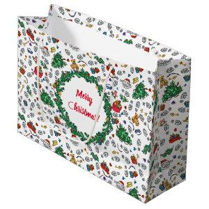 Personalized Merry Bad Santa Holiday Pattern Large Gift Bag