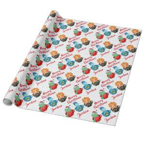 Personalized Merry Christmas Cute Dinosaurs Wrapping Paper