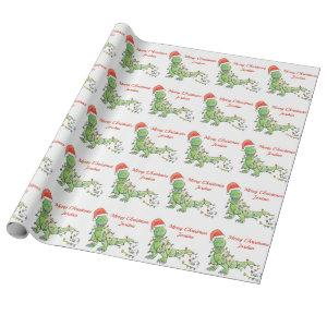 Personalized Merry Christmas Dinosaur Santa Hat Wrapping Paper