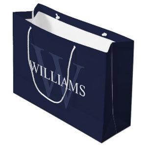 Personalized Monogram and Name Navy Blue Large Gift Bag
