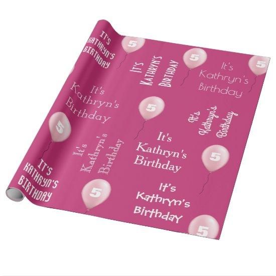Personalized Name & Age Birthday Pink Wrapping Paper