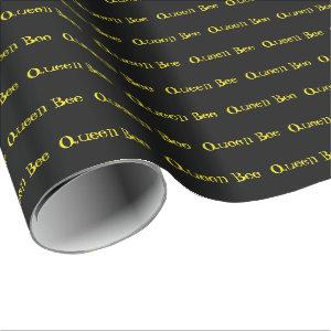 Personalized Name Black and Yellow Wrapping Paper