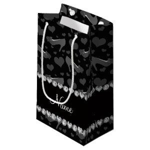 Personalized name black hearts shoes bows small gift bag