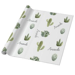 Personalized Name Cactus Succulent Southwest Wrapping Paper