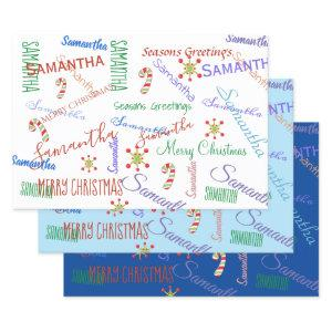 Personalized Name Custom Holiday Christmas Blues Wrapping Paper Sheets