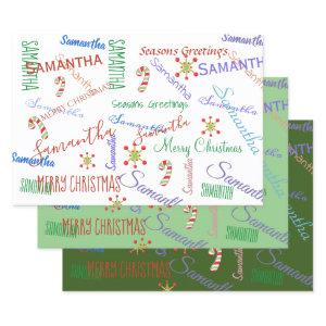 Personalized Name Custom Holiday Christmas Greens Wrapping Paper Sheets