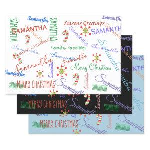 Personalized Name Custom Holiday Christmas Wrapping Paper Sheets