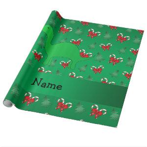 Personalized name dinosaur green candy canes bows wrapping paper