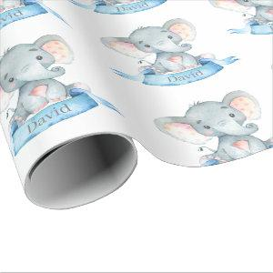 Personalized Name Elephant Baby Boy Blue and Gray